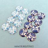 LOTE ÚNICO - Cabuchones en tonos azules floreados nacarados (8 pares)