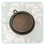 Camafeo borde cuerda bronce viejo NEW* 20mm  (10 unidades)