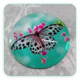 Cabuchón Cristal estampado Mariposa negra sobre turquesa
