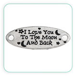 Conector mensaje I LOVE YOU TO THE MOON and back OVAL plata vieja C0080591