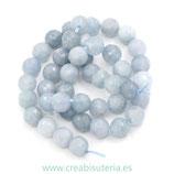 Abalorios Piedra aguamarina gris azulada clara facetada 8mm C22959  (47 piezas aprox.)