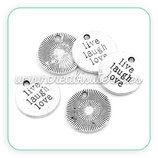 "Charm mensajito ""Live Laugh Love"" plateado 20mm COLOOO-C26825"