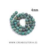 Abalorio piedra natural redonda 4mm turquesa africana esmerilada 38cm (94 abalorios aprox.)  P106203