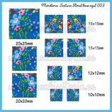 Imagen monotema cuadrado textura Floral base azul 003