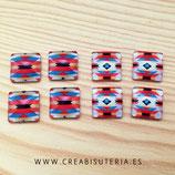 LOTE ÚNICO - Cabuchones 15mm cuadrados Modelo Azteca - 4 pares (2 de cada)