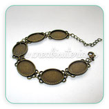 Pulsera bronce antiguo camafeo ornamental 13x18mm PUL000-C5588