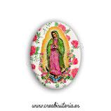 Cabuchón Cristal Religión - Virgen de Guadalupe México fondo rosas New*