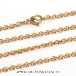INOX - Cadena con cierre inox chapado en oro  LARGA  74,9cm  Inox P26502