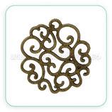 Conector espiritual 3 - 044 - mandala  bronce ornamentos espirales (10 unidades)
