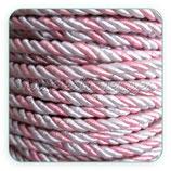 Cordón trenzado de algodón Rosa palo y gris 3mm
