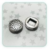 Entrepieza  cuero redonda filigrana estrellas plata vieja ENTOOO-EC 025 (4 unidades)