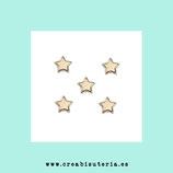 Bolsita 50 estrellas acrílicas doradas 10mm agujero 1,3mm aprox P78