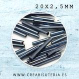 Abalorios cristal canitullo gris azulado 20x2,5mm  aprox. CANU20MM 50gr
