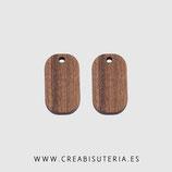 Madera colgante rectangular alargado  madera nogal natural 20,5mm   M008  (10 unidades)