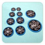 LOTE ÚNICO -Cabuchones de cristal flor de loto y mandala ohm. AZULES Y NEGRO