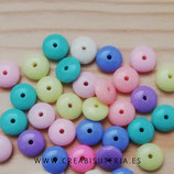 Abalorio acrílico en forma de donut o cuenta heishi -  plano redondeado  10mm - 100 unidades