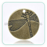 Charm Libélula medalla bronce viejo CHAOOO-C14143 (10 unidades)