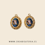 Cabuchón Cristal Religión - 2 Virgen María - azul 13x28mm + 2 bases doradas aptas para bordar