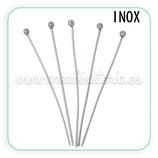 INOX - Bastón cabeza redonda largo 34mm  (10unidades)
