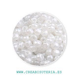 Abalorios -  Cristal de colores rocalla  color perla blanca  40gr RP141