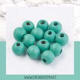 Madera abalorio verde azulado - turquesa  (30 unidades) MAD-C030