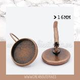 Pendiente camafeo redondo COBRE ROJO clip 16mm /modelo liso   (10 pares)