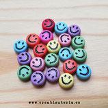 Bolsita Smileys - emoticonos acrílicos color fuerte sonrisa negra  7mm - 100 unidades aprox.
