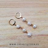 Bisutería acabada- Pendientes acero inox dorado - 3 cuentas perla natural