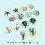 LOTE ÚNICO - Cabuchones  motivos marinos vintage 20mm (7 pares) MAR202