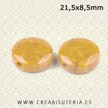 Abalorio de resina imitación piedra en forma plana redonda 21,5x8,5 P09  (8 unidades) CCLOR