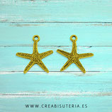Colgante mar -Estrella de mar fina dorada  P78 (9 unidades)