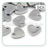 INOX - Corazón mini 10x9x1,5mm acero inoxidable P112  (10 unidades)