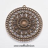 COLGANTE X- X- Mandala filigrana grande  bronce viejo con huecos para aplique 55,5mm P050 (unidad)