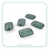 Abalorio de resina  imitación piedra en forma rectancular plana verde ARES012 (2 unidades)