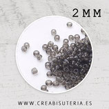 Abalorios -  Cristal de colores, rocalla 2mm  gris semitransparente  20gr R001-2MM