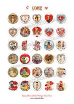 30 Imagenes San Valentín Vintage 30x30mm