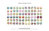 72 Imágenes vintage de flores 15x15mm
