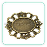 Camafeo oval ornamental bronce antiguo fino CAMBAS-C18684 (10 unidades)