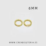 Anillas doradas 6mm de latón, espesor 1mm   (50 unid. aprox.)