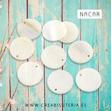 Concha en forma de círculo colo nacar charm 15-16mm (20 unidades) CONCH15