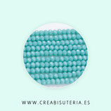 Abalorios -  Cristal facetado  3x2mm color azul claro turquesa claro 76 - Tira de 195-200 un aprox.