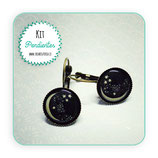 KIT PENDIENTES CAMAFEO LUNA NEGRA 14mm base bronce viejo