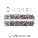Accesorios - Anillas - caja de anillas plateado de 6 diámetros diferentes