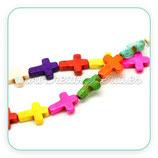 Abalorios Howlita CRUCES de colores  20X15mm