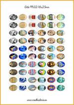 60 Imágenes para camafeos de arte M02  Formato:18x25mm