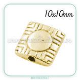 Entrepieza dorada - DO1- x -  cuadrado y punto-ENTOOO-PGLF9835Y  (10 unidades)