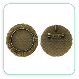Broche camafeo ornamental hojitas 25mm bronce viejo BROOOO-C45459
