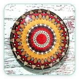 Cabuchón Cristal ilustrado Mandala color mostaza y rojo
