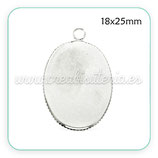 Camafeo oval 18x25mm Hipoalergénica - medalla sencilla plateada CAMBAS-C20229