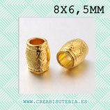 Entrepieza dorada - DO1- x - barril / tubo étnico 6,5x8mm  P11 (20 piezas)